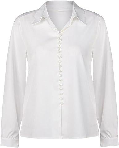 Moda de Color Sólido Camisa de Manga Larga para Mujer Casual Joker Solapa Camiseta Top: Amazon.es: Ropa y accesorios