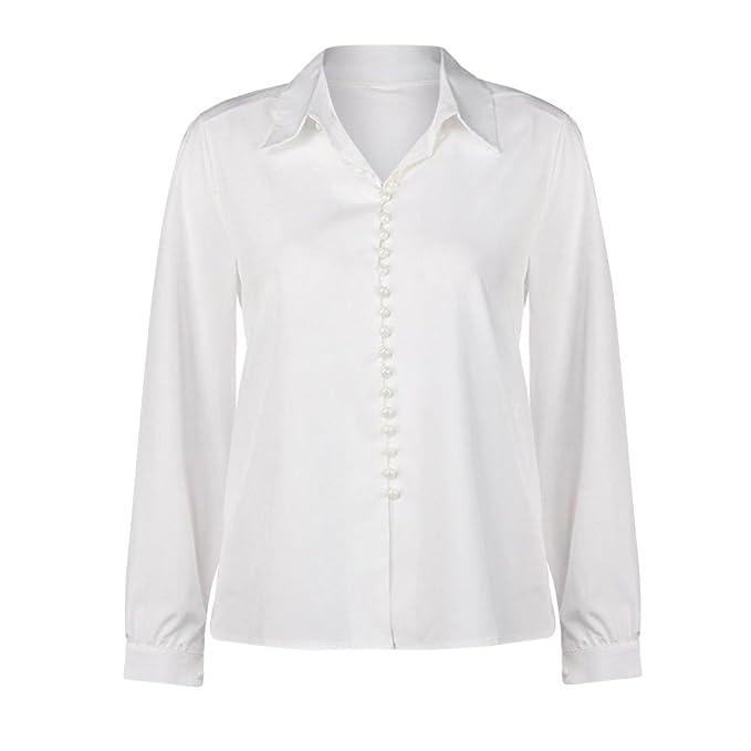 fec572ced6f Camisa Larga del Botón de Las Mujeres Flip Collar Manga Larga Casual Top  Blusa Blanca Oferta