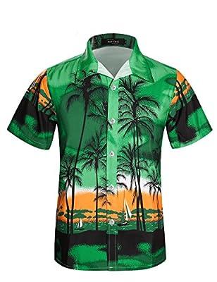 APTRO Men's Hawaiian Shirt Short Sleeve Palm Beach Board Shirt