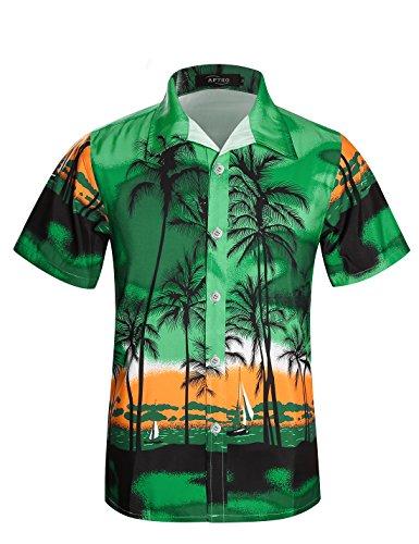 APTRO Men's Palm Tree Hawaiian Shirt Short Sleeve Beach Shirts (Tag 3XL=US L, ()