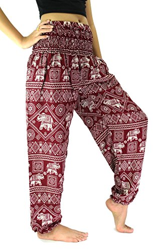 Bangkokpants Women's Hippie Pants Yoga Clothing Elephant Design US Size 0-12 (Red Stamp)