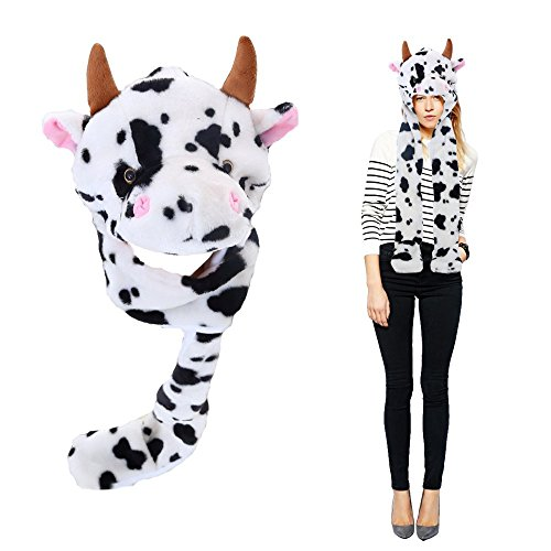 Toy Cubby Headgear Cow Hat | Halloween Animal Head-wear Costume Accessory with Ultra Long Paws Masquerade Plushy Face. -