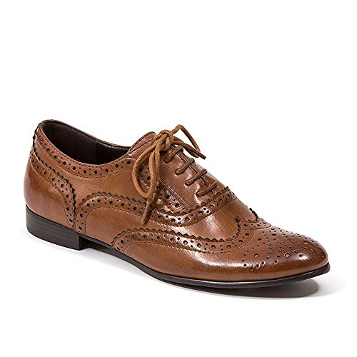 French Blu Women's Laurel Wingtip Lace-Up Oxford Shoe, Brown, Euro 37/6-6.5 US