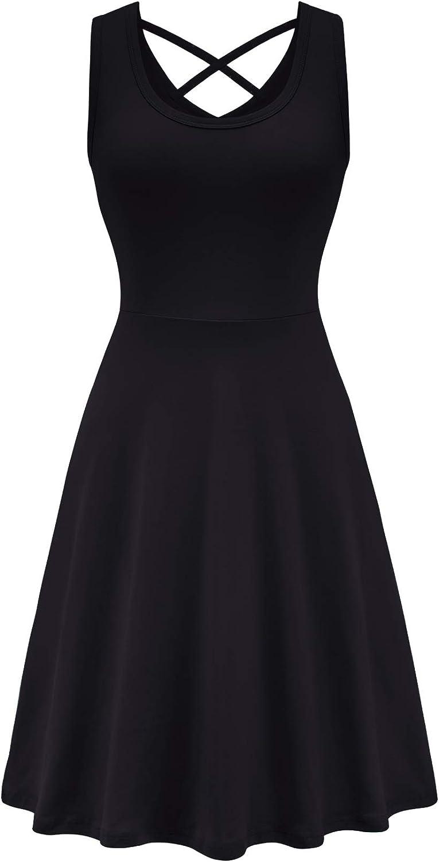 VOBCTY Women's Casual Cotton Tank Dress Flared Criss Cross Back Swing Sundress