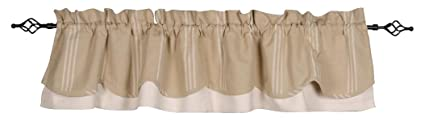Home Collections by Raghu 72x15.5, Buff and Cream Grain Sack Multi Stripe Fairfield Valance, 72 W x 15.5 L