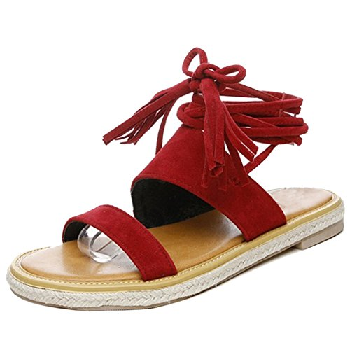 Fringe Red Strap Flat TAOFFEN Ankle Women Summer Lace Sandals Gladiator Slingback 4xqttfTOw