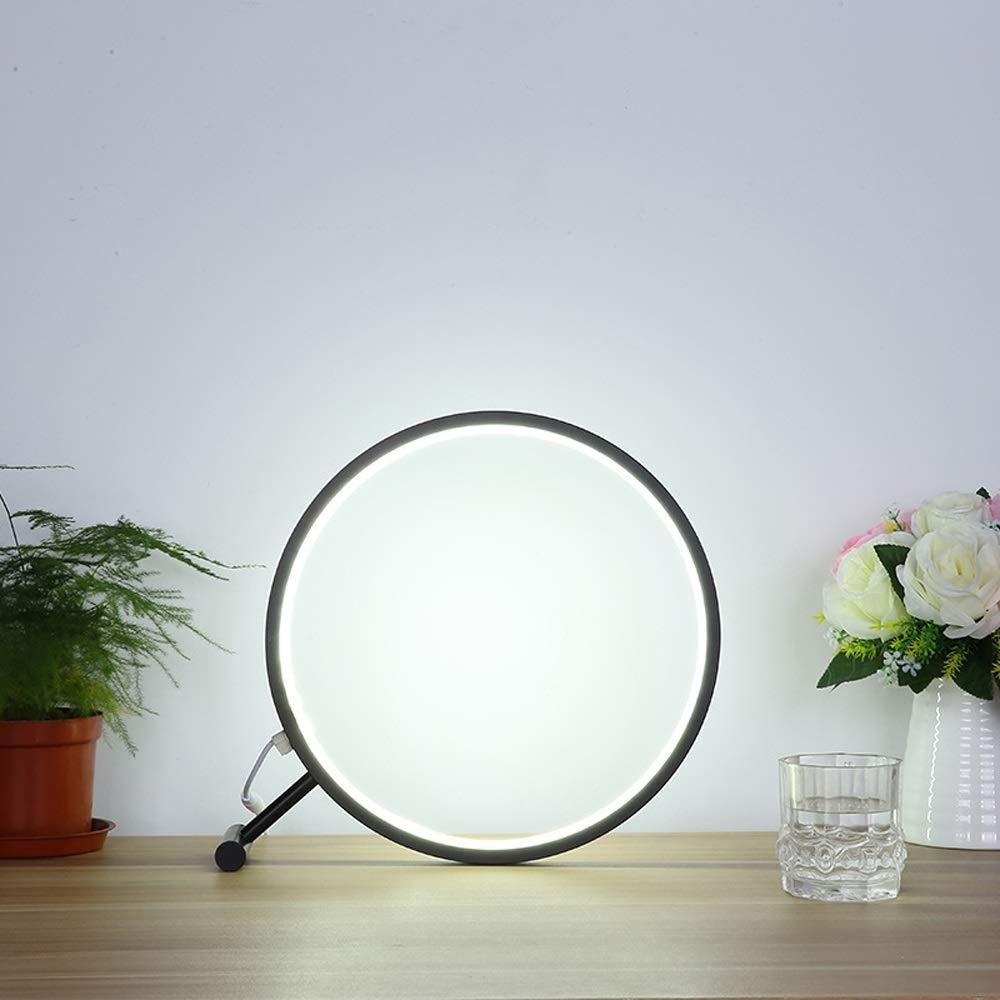 Moderne minimalistische led tischlampen, mode schmiedeeisen runde dekoration studie schreibtisch licht kreative wohnzimmer schlafzimmer nachttischlampe (Farbe   schwarz-Weiß light-45cm)