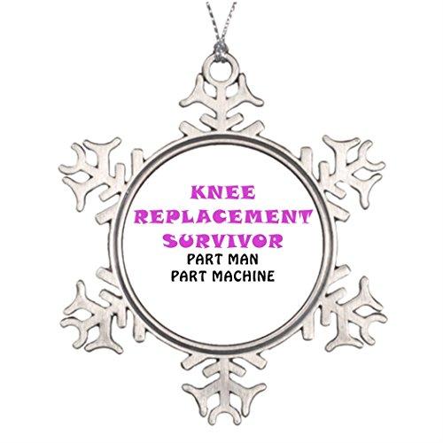 Take_U Ideas For Decorating Christmas Trees Knee Replacement Survivor Part Man Part Machine Metal Snowflake Ornaments