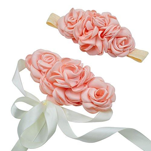 Spmor Maternity Sash Flower Belt Baby Shower Headband Dress Accessories Pink
