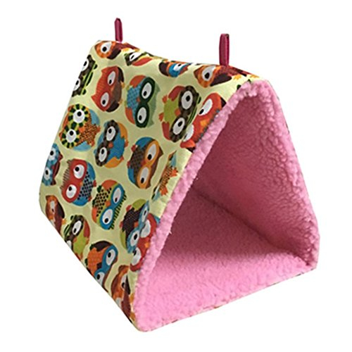 Shuohu Birds Hammock Hanging Cave Cage Plush Hut Tent Bed Triangle Cotton Tent Nest House