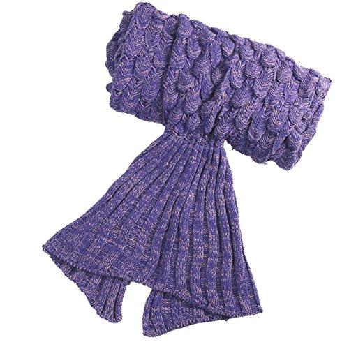 ONEPACK Mermaid Tail Crochet Blanket Chrismas Gift,Handmade Mermaid Blanket,Soft Sleeping Reading Watching Sofa Camping Blankets(Adult, 73
