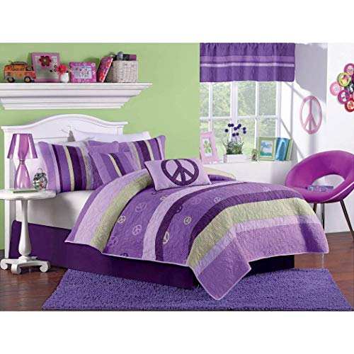 2pc Girls Peace Sign Twin Quilt Set, Hippy Indie Vibes, Girly Colors, Hippie Themed Bedding, Purple Green Stripes