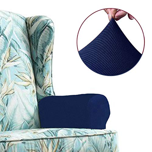 Chelzen Stretch Sofa Armrest Covers Set of 2, Striped Fabric Arm Slipcovers Protectors for Couch, Chair and Recliner (Armrest Covers, Navy Blue)