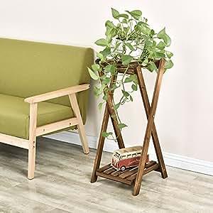 mghjx Real madera 2capa flor accesorio de, sala de estar planta de jardín al aire libre piso tipo, Size36X 26X 74cm a +