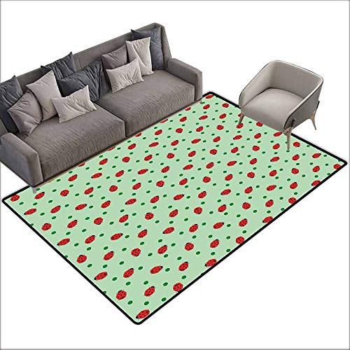 Shaw Garden Rug - Office Chair Floor Mat Foot Pad Ladybugs,Traditional Polka Dots Background Abstract Cute Ladybug Insects Fun Design,Green Red Black 36