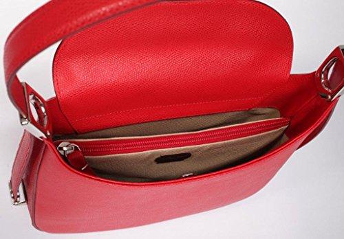 Burg-wächter aSCONA jOSYBAG cuir-rouge-ledergefüttert poche à 3 compartiments au niveau des bretelles réglable