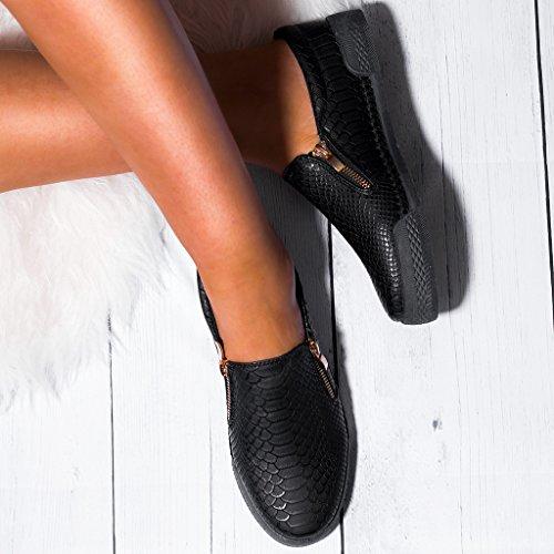 SPYLOVEBUY VEGAZ Mujer Cremallera Planos Zapatos de salón Negro Negro - Cuero Sintético