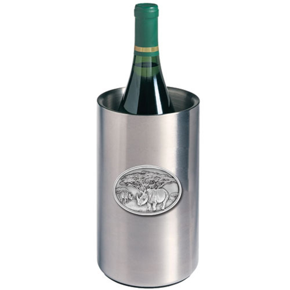 ANIMAL, RHINO WINE CHILLER, This is a wine chiller made of double-wall insulated stainless steel with a fine pewter logo medallion bonded to the front.