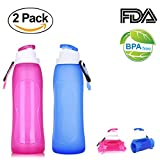 Junxave Unbreakable Silicone Collapsible Water Bottle with Filter, 500ML/17oz BPA Free Foldable Squeeze for Sports Travel Cycling Camping Hiking (Blue+Pink)