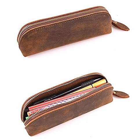 XIDUOBAO Handmade Retro Genuine Leather Pencil Pouch Vintage Soft Genuine Leather Pencil Pen Case Pouch Holder Bag. - Casi Fountain Pen