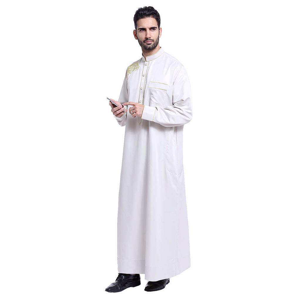 Accreate Muslim Arab Middle Eastern Men Robe Solid Color Long Gown