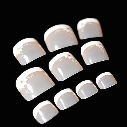 EchiQ - 24 piezas de uñas postizas de punta francesa para pies de color blanco nude
