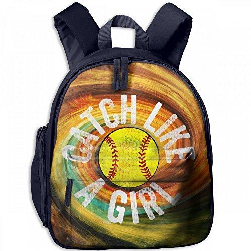 Basics To Pitcher Back (Catch Like A Girl Softball Catcher Ball Kid Lightweight Canvas Travel Backpacks School Book Bag)