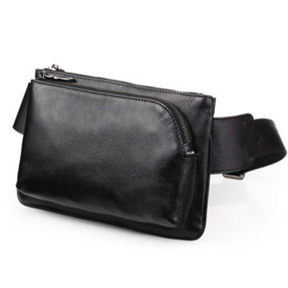 Jxth Leichte Wandertasche Laufen Gürtel Taille Gürteltasche Für iPhone 7 8 Plus X Schwarz Rindsleder Crossbody Bagwaist Tasche für Outdoor SPOR Unisex
