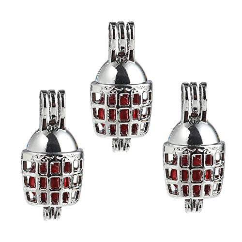 (5X Silver Plate Bird Cages Shape Pearl Cage Locket Pendant DIY Diffuser Necklace)