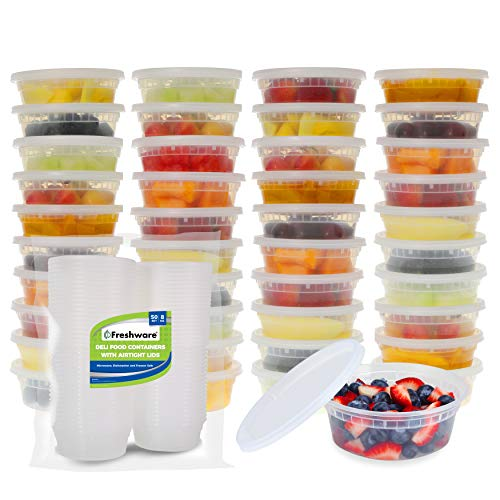 Halloween Food Meals (Freshware Food Storage Containers [50 Pack] 8 oz Plastic Containers with Lids, Deli, Slime, Soup, Meal Prep Containers | BPA Free | Stackable | Leakproof | Microwave/Dishwasher/Freezer)