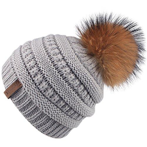 Kids Pom Beanie Winter Hat - FURTALK Girls Boys Knit Slouchy Cap Hats With Real Fur Ball For Children Toddler 2-10 ()