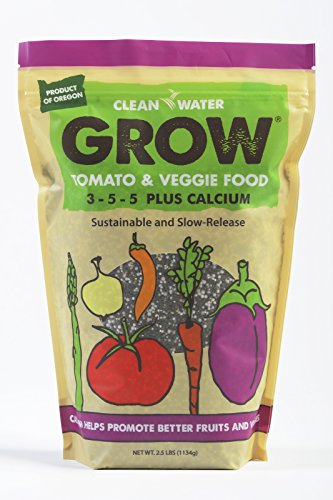 Clean Water Grow Tomato & Veggie Food 2.5 lb. Slow Release Natural Environmentally Friendly Fertilizer 3-5-5 Plus Calcium Nutrient