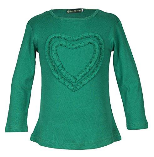 Girls' Ruffled Love Heart Long Sleeve Crew Neck Tee Shirt Top Green 8