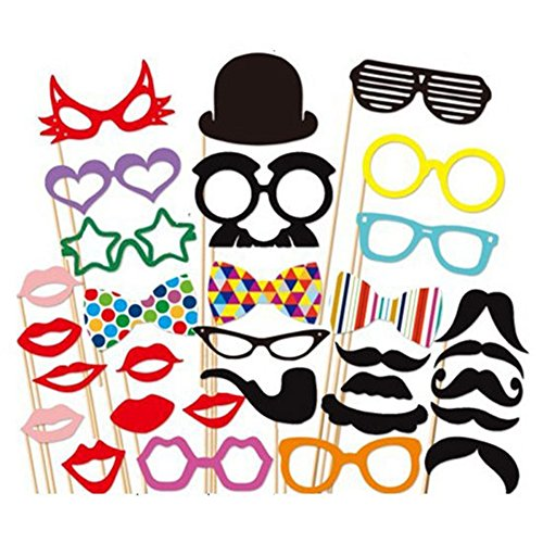 31pc DIY Mask Photo Booth Props of Moustache on a Stick for Wedding,Halloween,Thanksgiving,Christmas,Birthday Party Favor