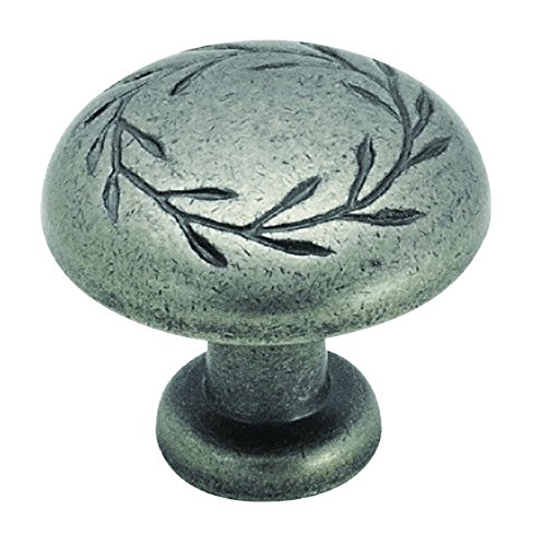 Amerock BP1581-WN Inspirations Leaf 1-1/4-Inch Diameter Knob, Weathered (Amerock Weathered Nickel)