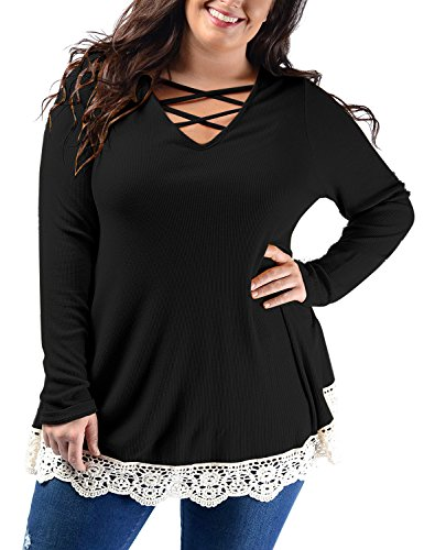 Cross Criss Knit Top (Lookbook Store Women Plus Size Sexy V Neck Crisscross Ribbed Knit Tops Solid Long Sleeve Lace Trim Tunic T Shirt Size L 12 14)