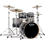 Pacific Drums PDCM2215SB 5-Piece Drumset with Chrome Hardware - Silver to Black Fade