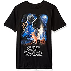Goodie Two Sleeves Men's Humor Cat Wars Type Adult T-Shirt, Black, Medium
