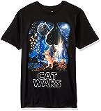 Goodie Two Sleeves Men's Humor Cat Wars Type Adult T-Shirt, Black, X-Large