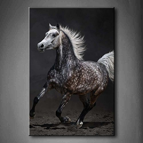 First Wall Art - Gray Arabian Mare Gallops On Dark Background Soil Wall Art Painting Pictures Print On Canvas Animal The Picture For Home Modern Decoration (Stretched By Wooden Frame,Ready To Hang) by Firstwallart