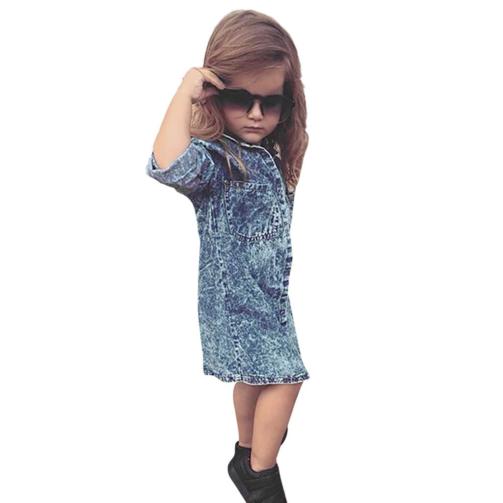 Baby Girls Denim Dress, Hopwin Kids Long Sleeve Jean Dresses Botton Down Dresses Summer Pocket Sundress (4-5 Years, Blue)