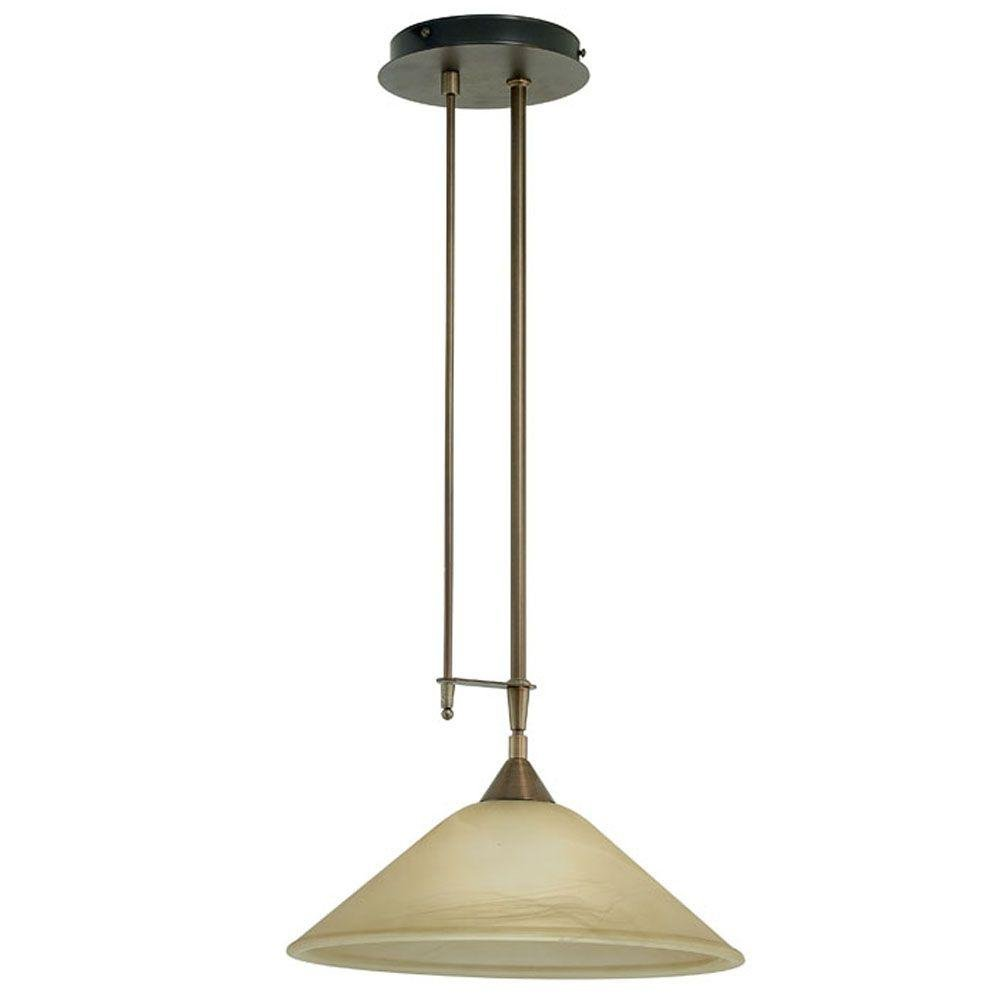 Eglo Madai 1-Light Hanging Bronze Pendant with Champagne Colored Glass Shade