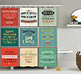 """Ambesonne Saying Shower Curtain, Illustration of Uplifting Messages Words Life Wisdom Art Success Themed Artwork, Cloth Fabric Bathroom Decor Set with Hooks, 75"""" Long, Red Green"""