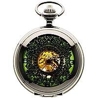 New Brand Mall Mens Black Vintage Luminous Mechanical Pocket Watch + Chain