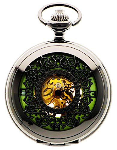 New Brand Mall Mens Black Vintage Luminous Mechanical Pocket Watch + Chain by New Brand Mall