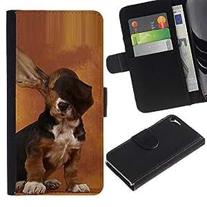 BearCase / Cuero de la tarjeta la carpeta del tirón Smartphone Slots Protección Holder /// Apple iPhone 5 / 5S /// Dog Long Ears Basset Hound Brown Puppy