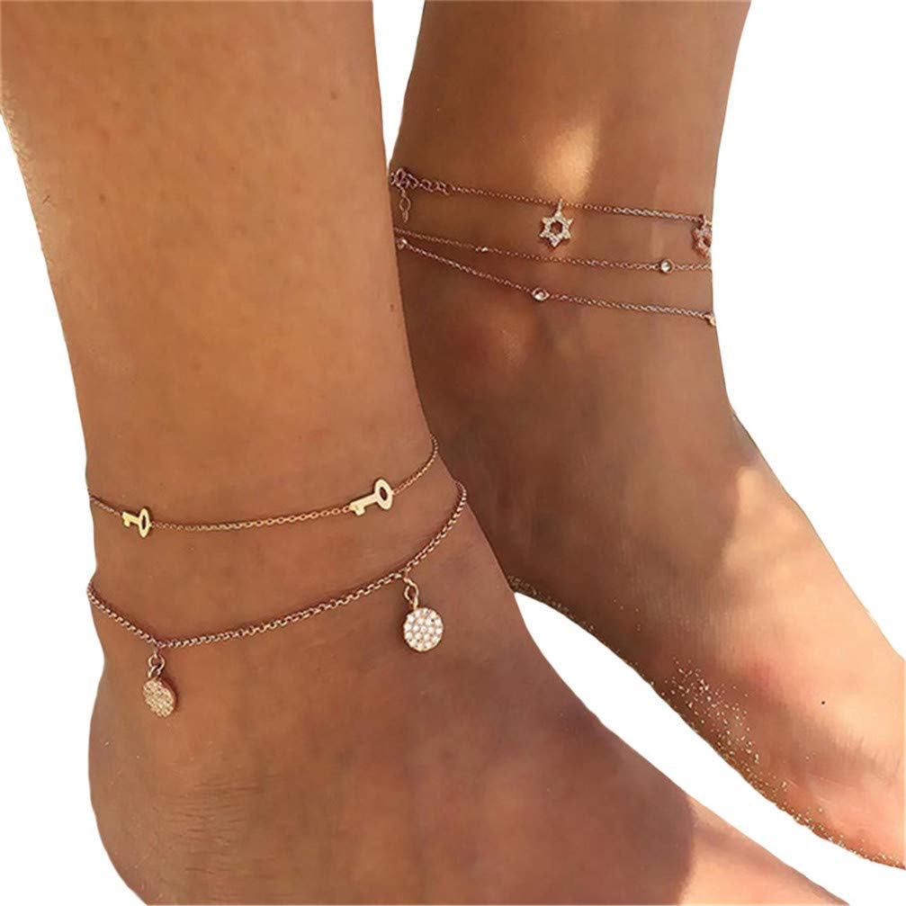 Myhouse Cute Round Key Double Layer Foot Chain Sandal Beach Barefoot Anklet for Women Girls, Gold Color