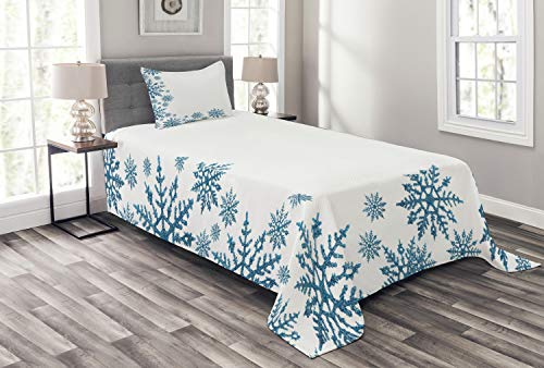 Lunarable Snowflake Bedspread, Snow Inspired Abstract Frozen Season Frame Pattern Christmas Celebration, Decorative Quilted 2 Piece Coverlet Set with Pillow Sham, Twin Size, White Blue