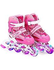 Lixada Inline Skates Kinderskates met verlichte PU-wielen, cadeau voor kinderen, tieners, jongens, meisjes, beginners, dames, heren, maat 27-32/33-37/38-41