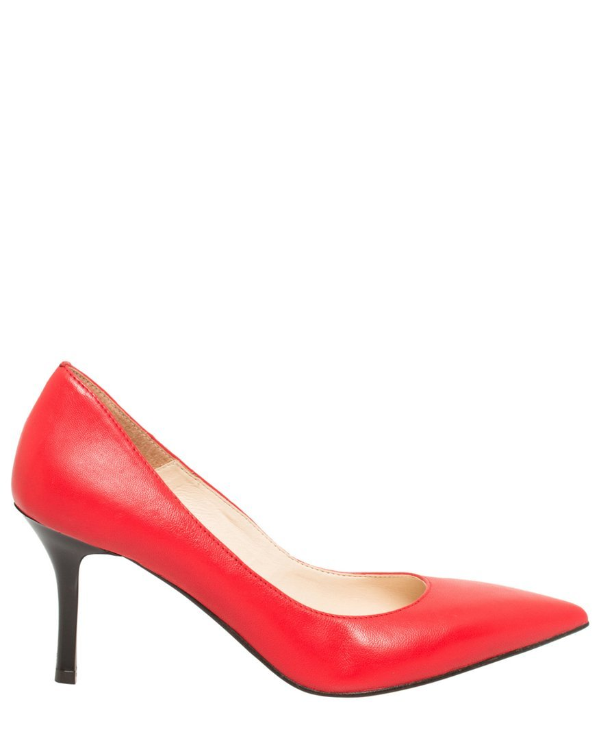 LE CHÂTEAU Women's Leather Pointed Toe Mid Heel Pump,8,Dark Coral
